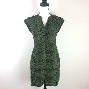 ATTENTION green snake print pocket dress small